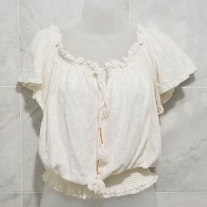 We the Free Cream Boho Peasent Top Cropped